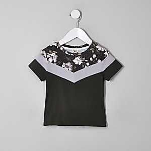 Mini boys khaki floral block T-shirt