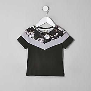 Mini - Kaki T-shirt met kleurvlakken en bloemenprint voor jongens