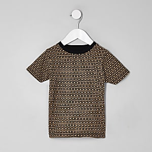 Mini boys stone RI monogram T-shirt
