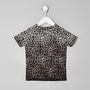 Steingraues T-Shirt mit Leoparden-Print