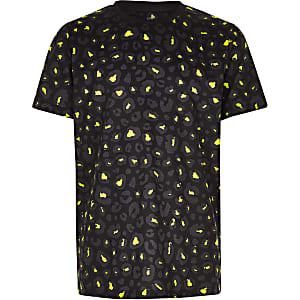 Zwart met limoengroen T-shirt met luipaardprint voor jongens