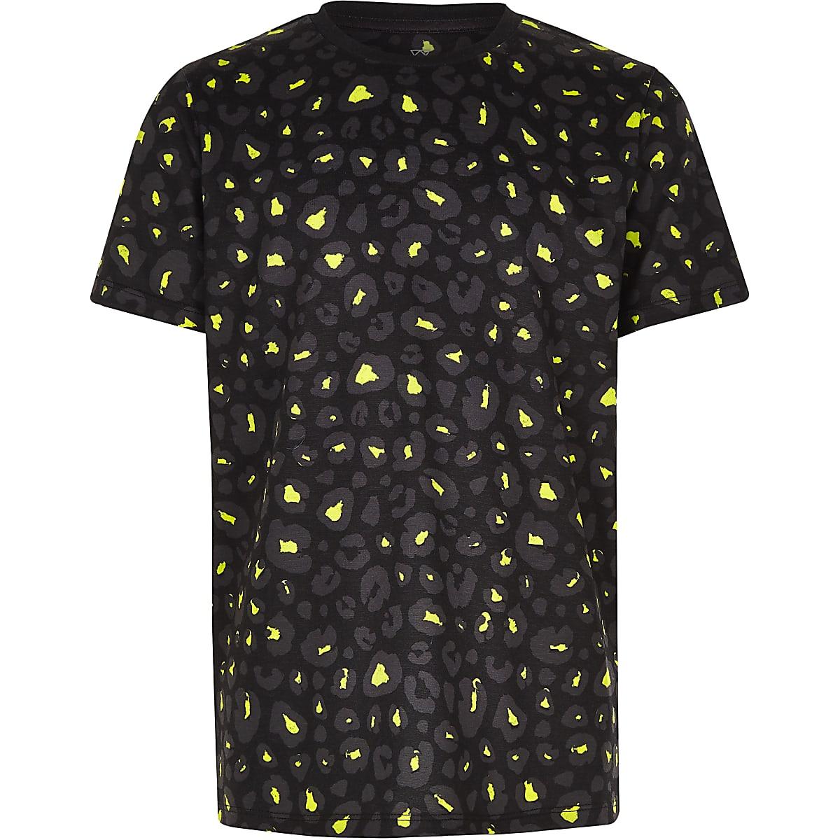 Boys black lime leopard print T-shirt