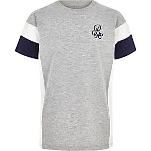 Grijs -shirt met R96-print en kleurvlakken voor jongens