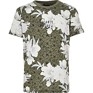 Kaki T-shirt met bloemenprint voor jongens