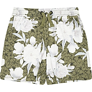 Boys khaki floral jersey shorts