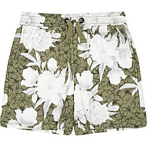 Kaki jersey short met bloemenprint voor jongens