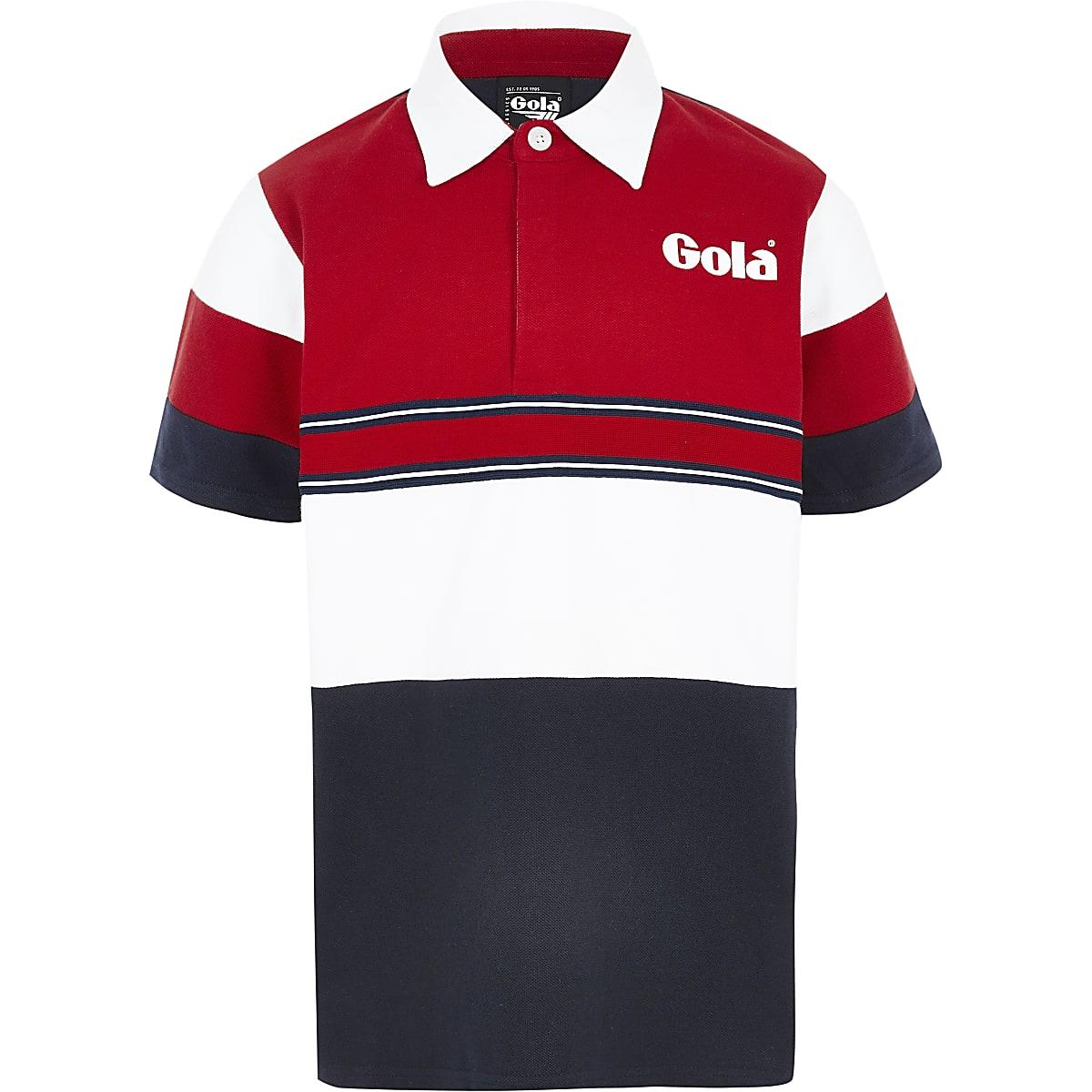 Boys navy Gola Exclusive block polo shirt