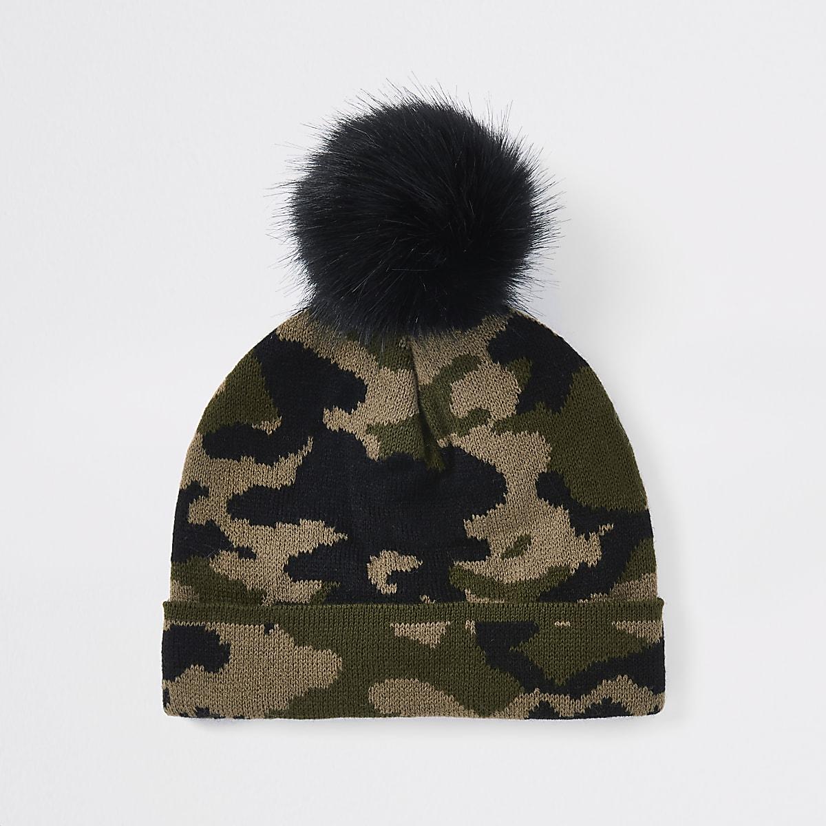 e37a1e3bc7b Mini boys khaki camo faux fur beanie hat - Baby Boys Accessories - Mini  Boys - boys