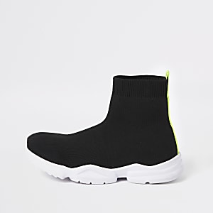 Boys black sock runner sneakers