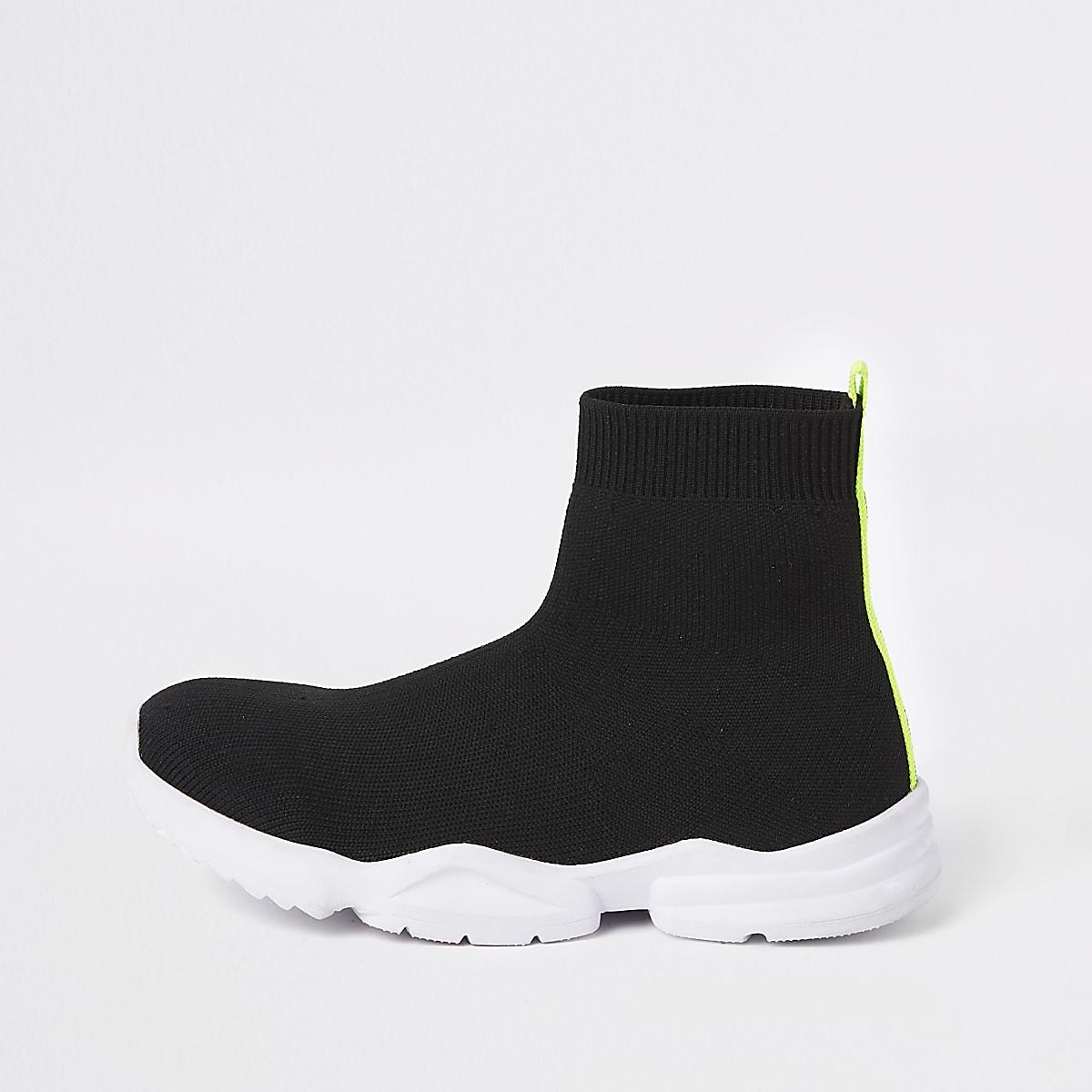 Boys black sock runner trainers