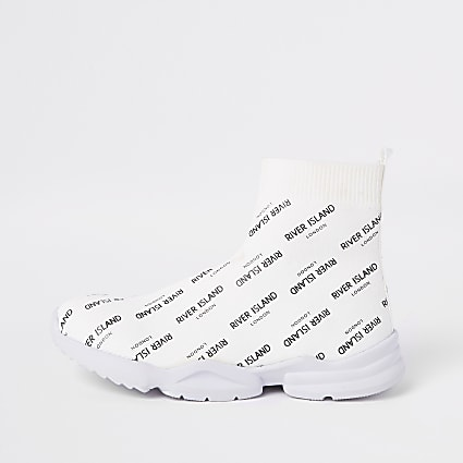 Boys white RI print sock runner trainers