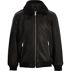 Boys black faux leather fleece collar jacket