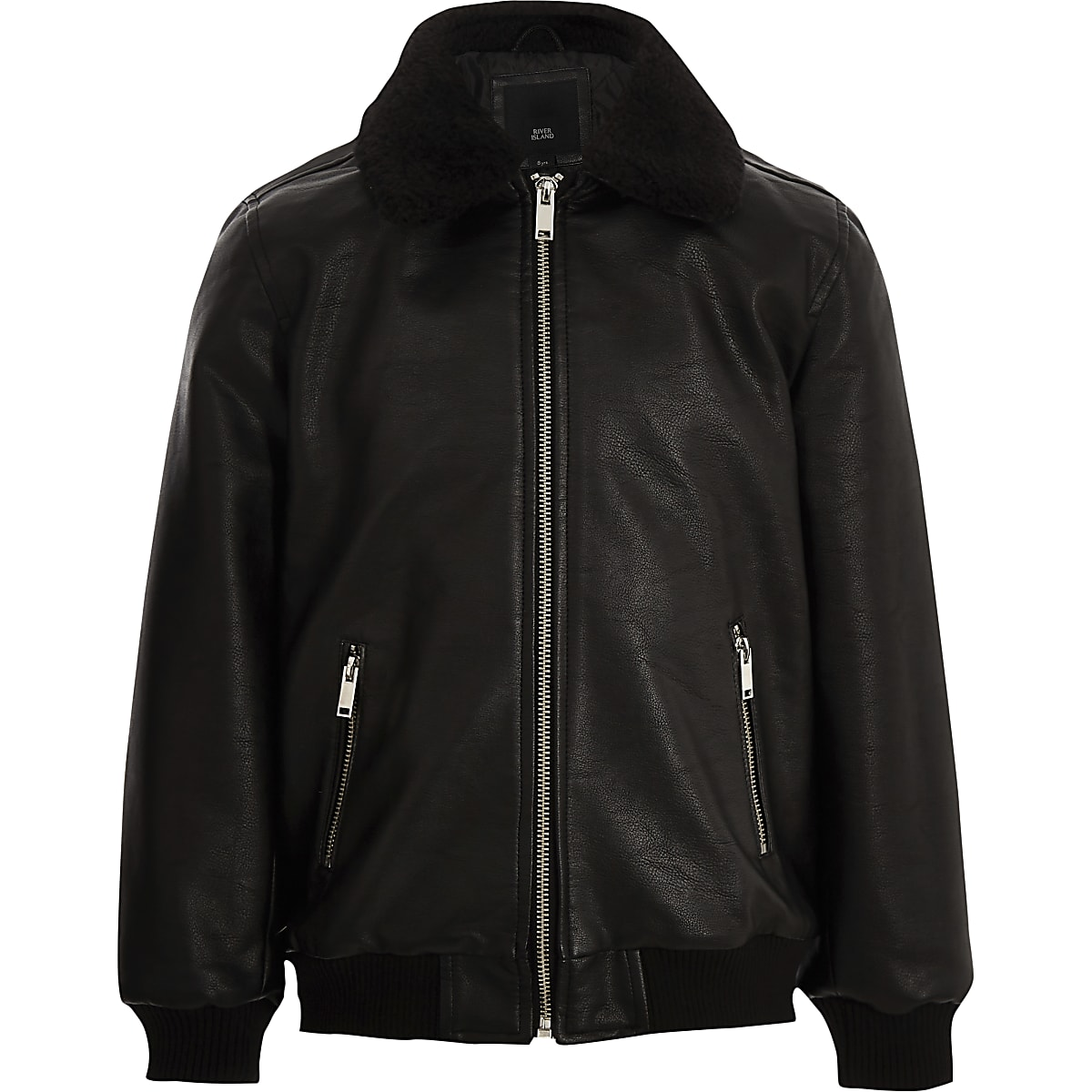 Boys black faux leather borg collar jacket