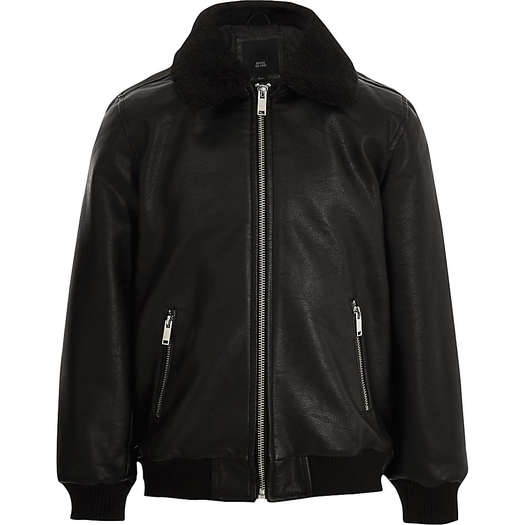 Boys black faux leather borg collar jacket