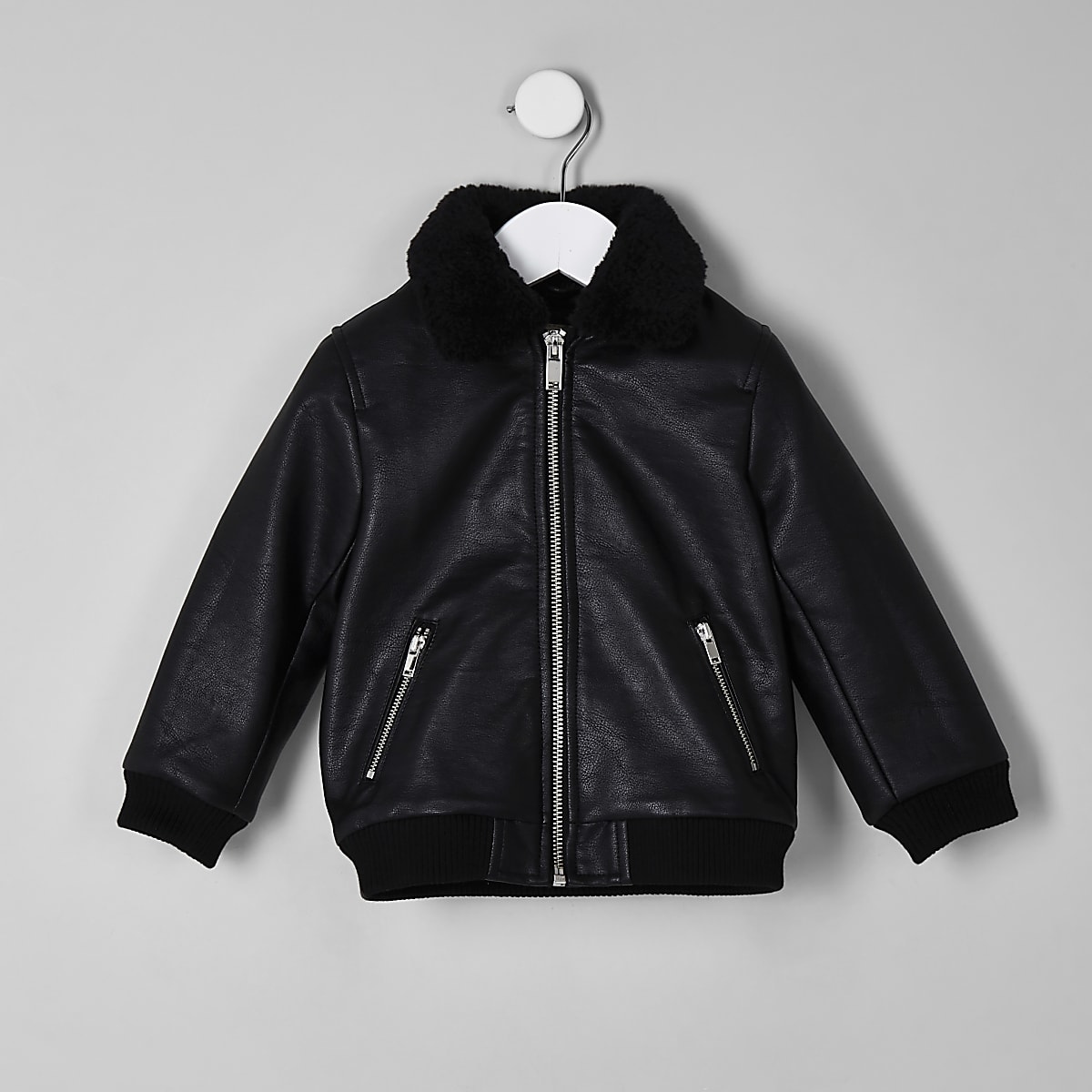 Mini boys black faux leather borg jacket