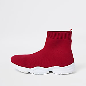 Boys red sock runner sneakers