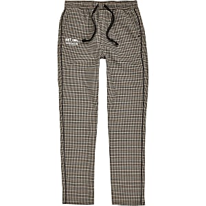 Boys brown check piped trousers