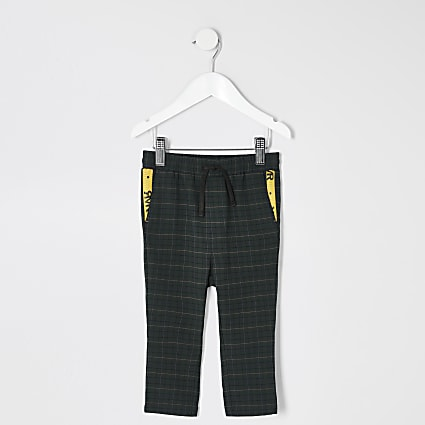 Mini boys green check trousers