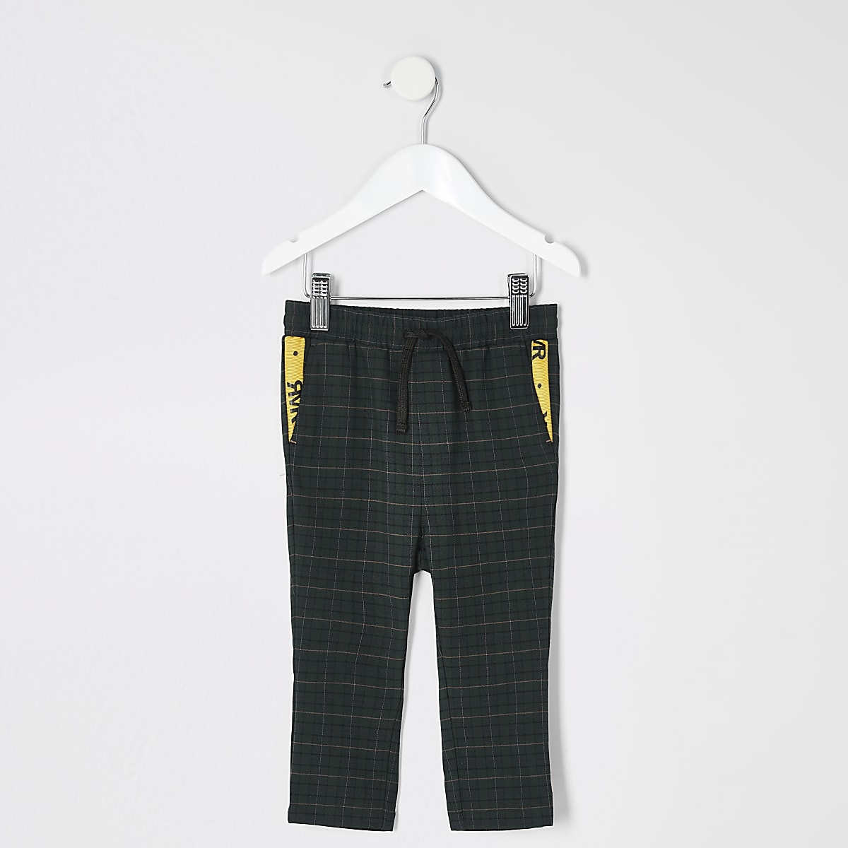 Mini boys green check pants