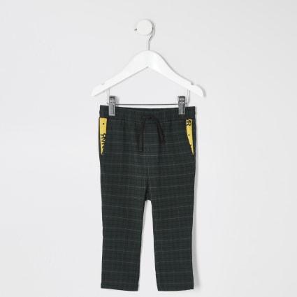 Mini boys green check trousers