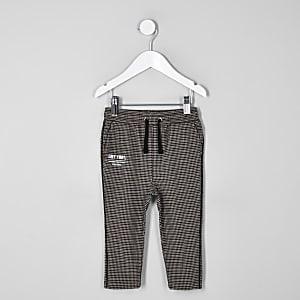 Pantalon à carreaux marron mini garçon
