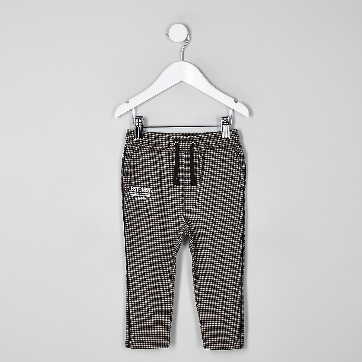 Mini boys brown check trousers