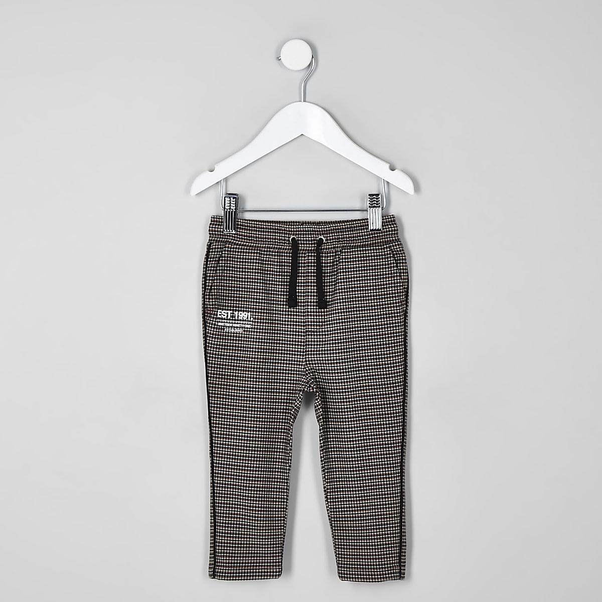 Mini - Bruine geruite broek voor jongens