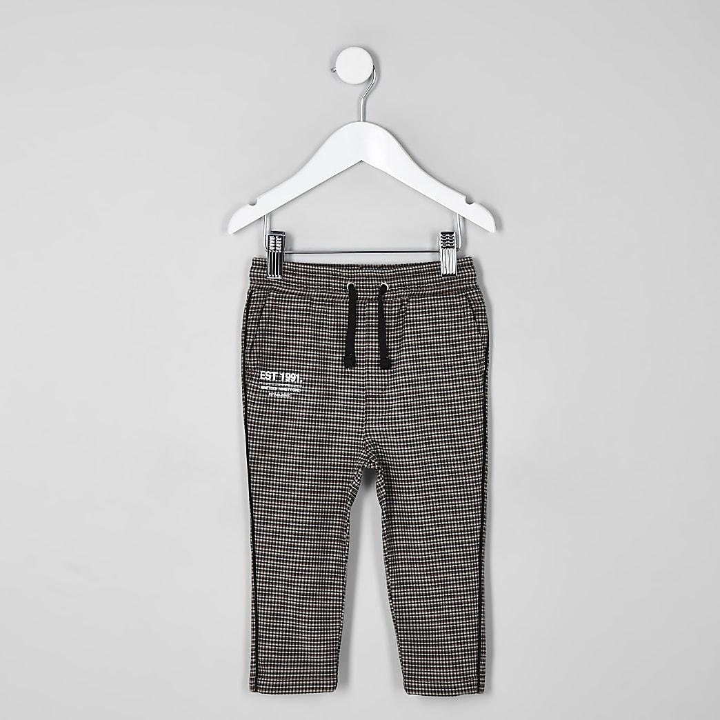 Mini boys brown check trousers