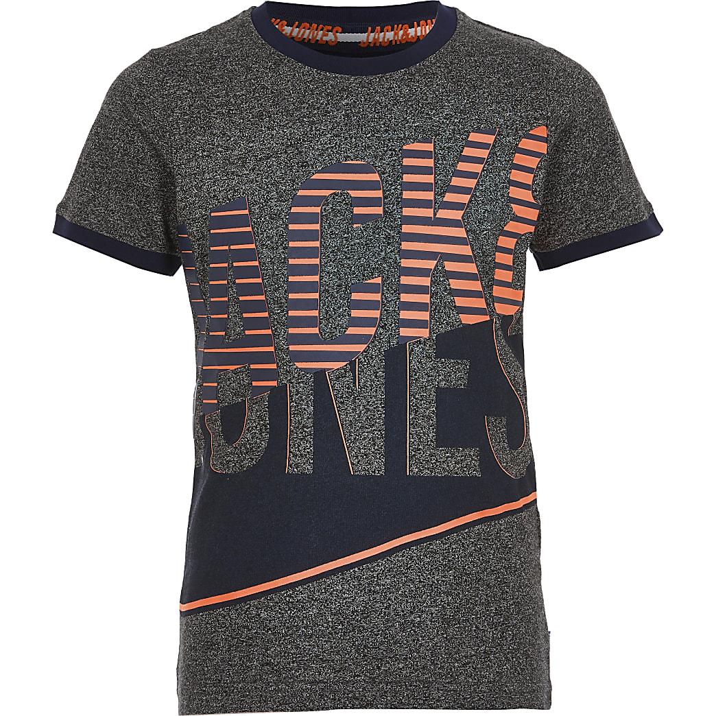 Boys grey Jack and Jones printed T-shirt
