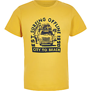 Boys yellow Jack and Jones printed T-shirt