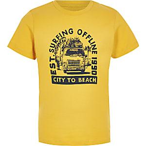 Jack & Jones – T-shirt imprimé jaune pour garçon