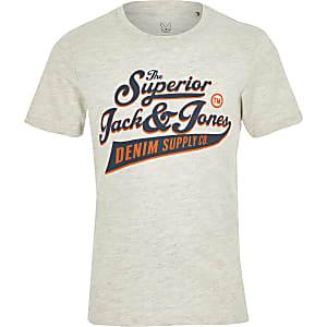 Jack and Jones - Grijs T-shirt met 'superior'-print voor jongens