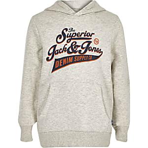 Jack & Jones – Grauer Hoodie mit Logo