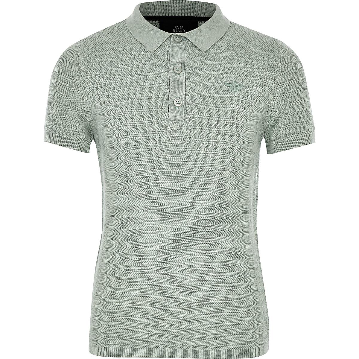 Boys green textured polo shirt
