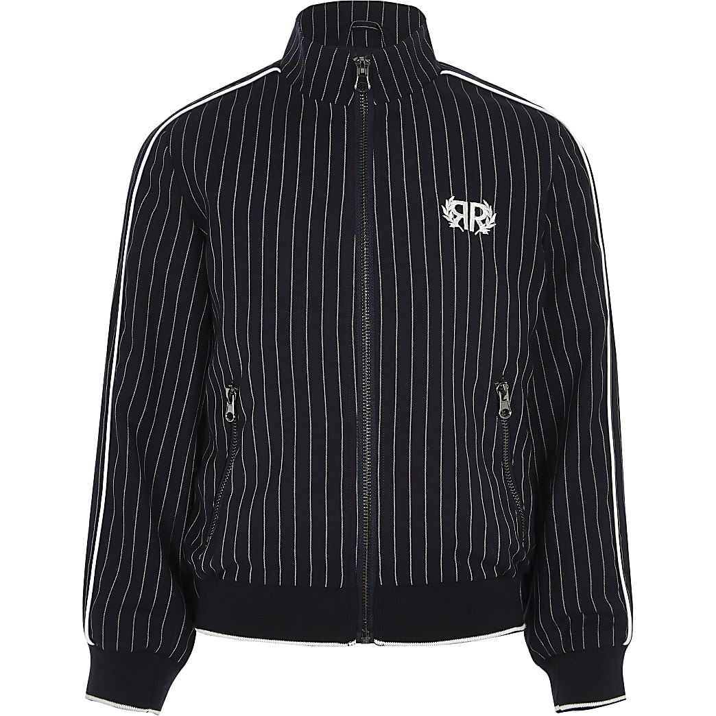 Boys navy pinstripe Harrington jacket