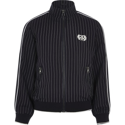 Boys navy pinstripe Harrington jacket