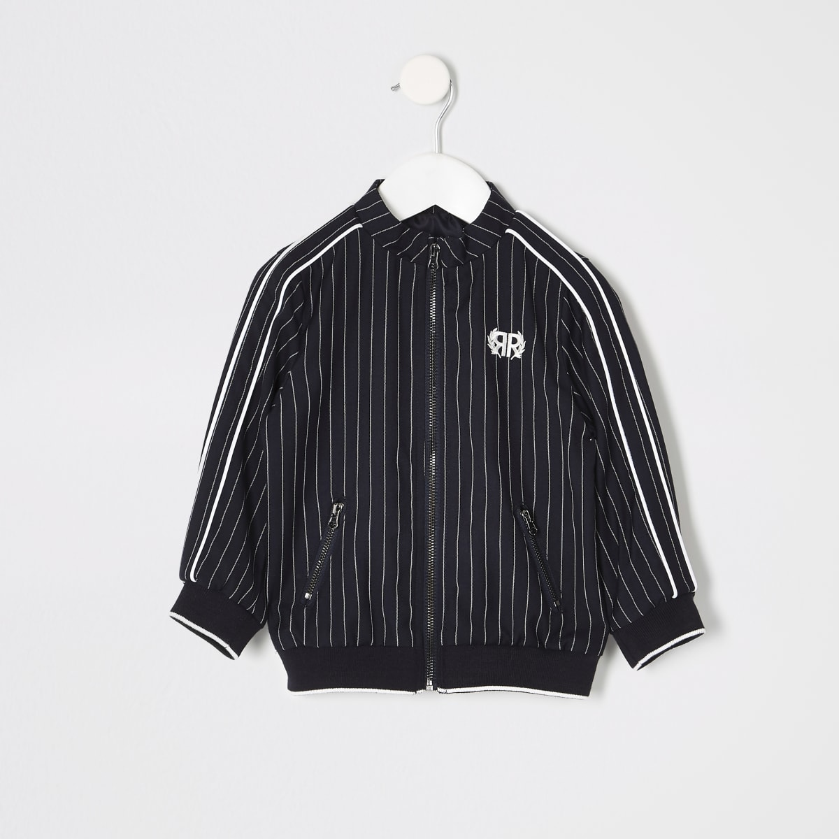 Mini boys navy pinstripe Harrington jacket