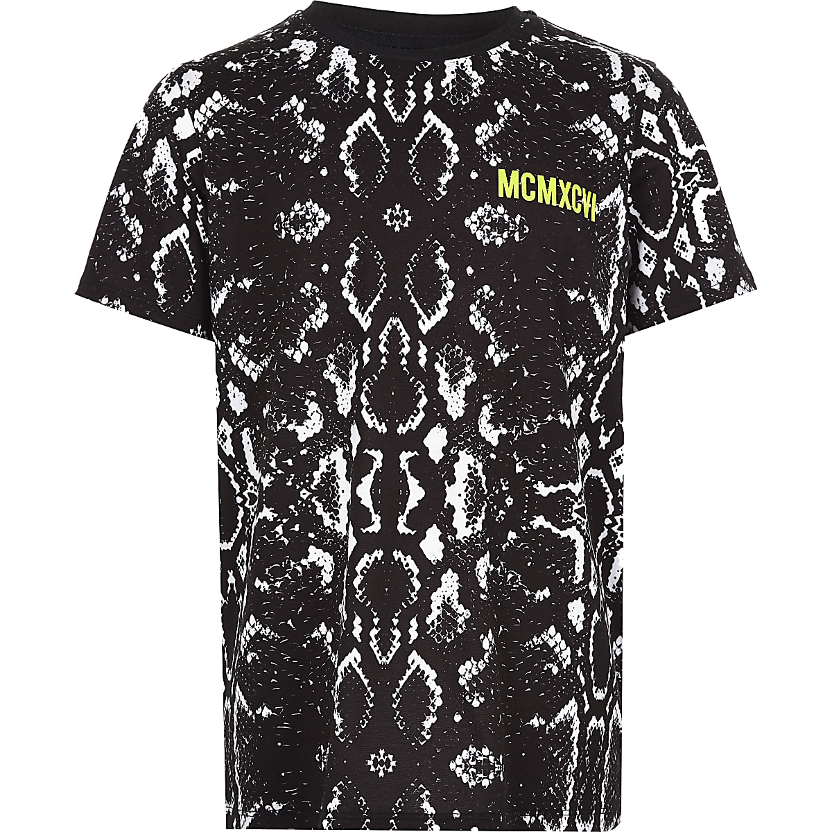 Boys black snake print T-shirt