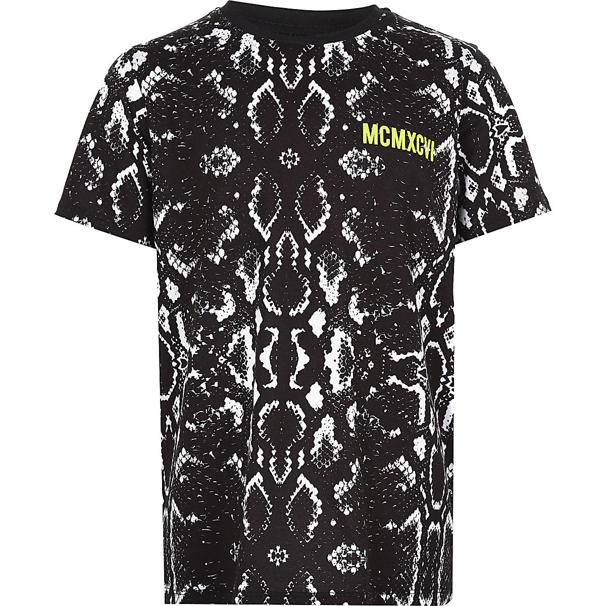 Boys black snake print T-shirt
