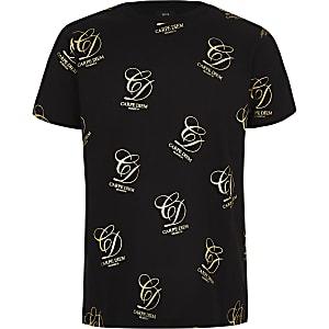 Boys black 'Carpe diem' gold foil T-shirt