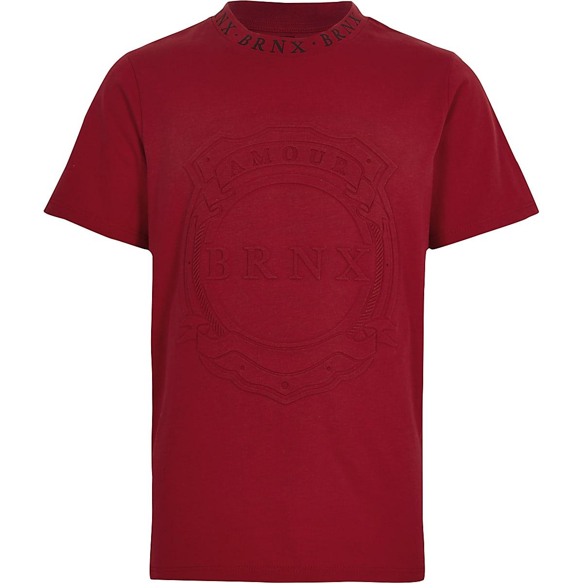 Boys red 'Brnx' short sleeve T-shirt