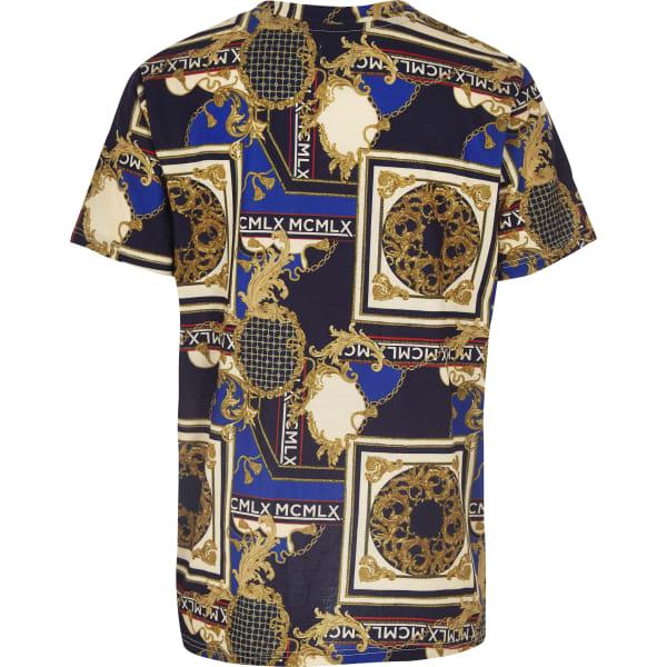River Island - t-shirt imprimé baroque  marine pour - 2
