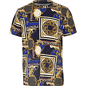 Boys navy baroque print T-shirt