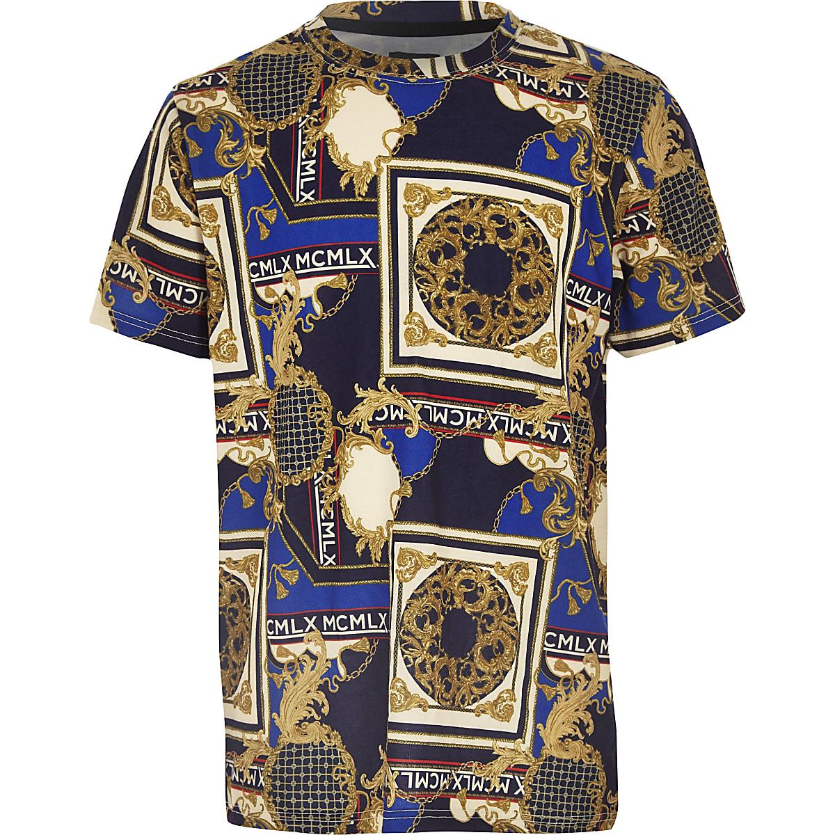 Boys navy baroque print T-shirt