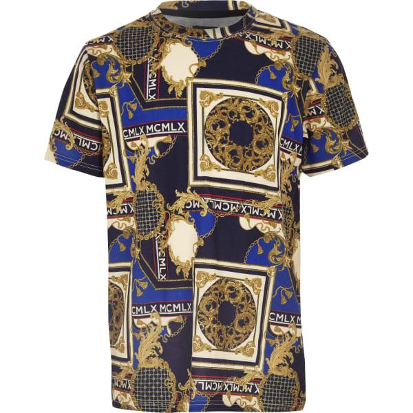 River Island - t-shirt imprimé baroque  marine pour - 1