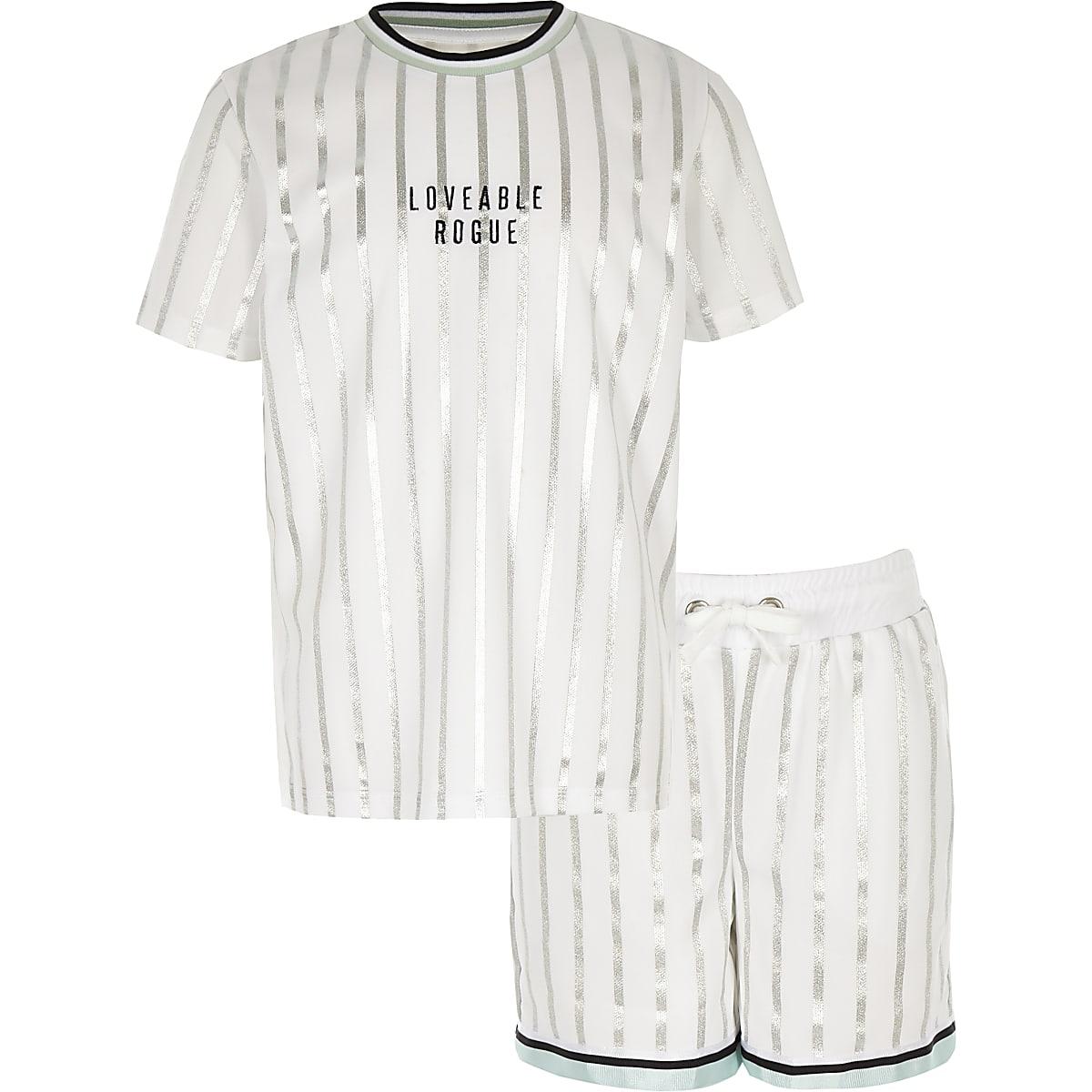 Boys white stripe mesh short outfit