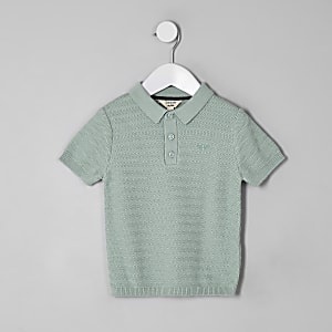 Mini boys green textured polo shirt