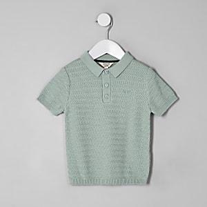 Mini - Groen poloshirt met textuur voor jongens