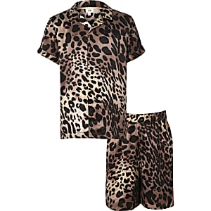 Kids brown leopard print pajama set