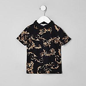 Schwarzes Polohemd mit Barockmuster
